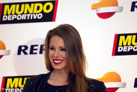La ex-miss España Andrea Huisgen, guapísima y simpática. Preséncia habitual en las últimas ediciones de la Gala del Deporte.