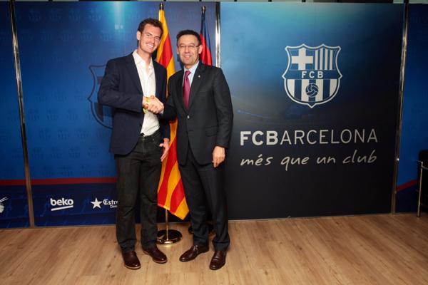 Josep Maria Bartomeu, amb el tennista Andy Murray