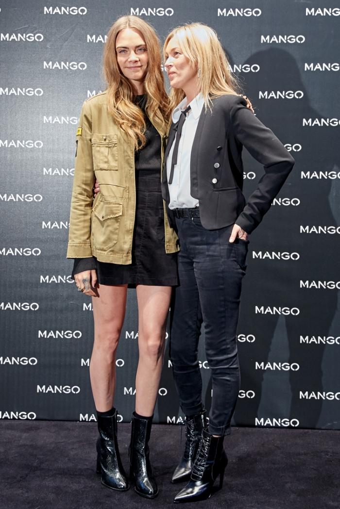 Cara Delevingne y Kate Moss en la Flagship Store Mango Milán copia