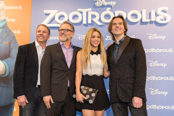 BARCELONA, SPAIN - FEBRUARY 03:  Clark Spencer, Rich Moore, Shakira and Byron Howard attend 'Zootropolis' premiere at Cinesa Diagonal on February 3, 2016 in Barcelona, Spain.  (Photo by Xavi Torrent/Getty Images) *** Local Caption *** Clark Spencer; Rich Moore; Shakira; Byron Howard